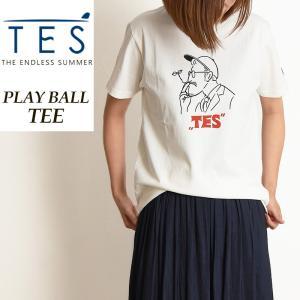 2019春夏新作 TES-The Endless Summer テス エンドレスサマー PLAYBALL プレイボール 半袖Tシャツ レディース フレンチブルドッグ柄 パグ柄 FH-9574321|geostyle