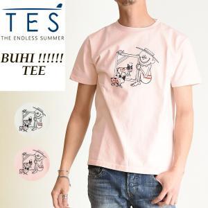 TES-The Endless Summer テス エンドレスサマー ブヒ!!!!!!  半袖 Tシャツ メンズ レンチブルドッグ柄 パグ柄 白T FH-9574323|geostyle