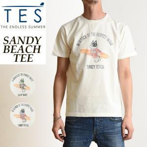 TES-The Endless Summer テス エンドレスサマー サンディービーチ 半袖 Tシャツ メンズ フレンチブルドッグ柄 パグ柄 白T FH-9574325|geostyle
