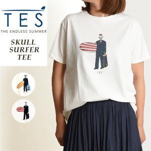 2019春夏新作 TES-The Endless Summer テス スカルサーファー 半袖 Tシャツ レディース 白T FH-9574326|geostyle