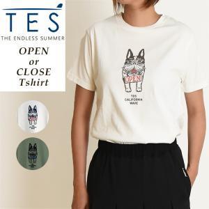 2019春夏新作 TES-The Endless Summer テス オープンオアクローズ ブヒ 半袖 Tシャツ レディース 白T FH-9574361|geostyle