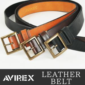 AVIREX アビレックス アヴィレックス アンティーク調バックル レザーベルト ロングサイズ 長尺 40mm幅 メンズ LAX-4111|geostyle