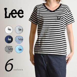 LEE リー ロゴプリント Vネック 半袖ポケットTシャツ ボーダー /ポケT レディース LS1243|geostyle