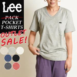 Lee リー パッケージなしアウトレットSALEセール30%OFF Vネック ロゴ半袖ポケットTシャツ パックT ポケT レディース インナー カットソー PACK T-SHIRTS LT2193 geostyle