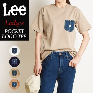 2020春夏新作 送料無料(ゆうパケット)Lee リー デニム ポケット Tシャツ レディース メンズ クルーネック ポケT LT2855|geostyle