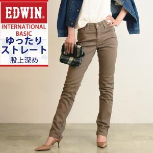 SALEセール6%OFF Miss EDWIN ミス エドウィン インターナショナルベーシック ゆったりストレート 股上深め ストレッチ レディース デニムパンツ/ジーンズ ME424|geostyle