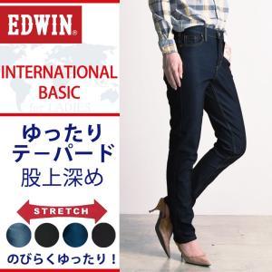 EDWIN エドウィン インターナショナルベーシック ゆったりテ−パード レディース デニムパンツ/ジーンズ MEF08ストレッチ|geostyle