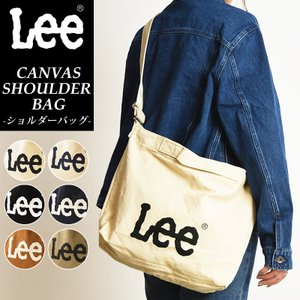 Lee リー ポケット付きキャンバス 2WAYショルダーバッグ ビッグロゴ ななめがけ レディース メンズ QPER60-R|geostyle