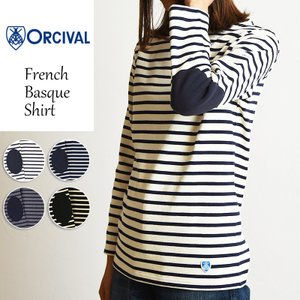 Orcival オーチバル オーシバル レディース エルボーパッチ付き バスクシャツ ボーダー 長袖Tシャツ カットソー RC-9105L|geostyle