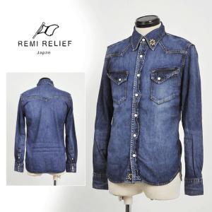 REMIRELIEF レミレリーフ 送料無料 日本製 デニムウエスタンシャツ(フラワースタッズ)RN15169116 メンズ/デニムシャツ/ウエスタンシャツ/ヴィンテージ/古着|geostyle