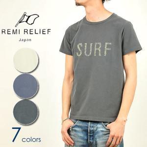 レミレリーフ REMI RELIEF スペシャル加工 Tシャツ 半袖 手書きSURF メンズ RN16189158 ヴィンテージ加工|geostyle