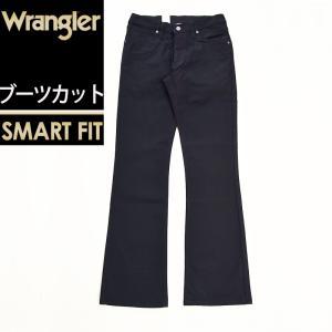 定番 裾上げ無料 ラングラー Wrangler 股上深め ブーツカット デニムパンツ メンズ ストレッチ ジーンズ ジーパン フレア WM3907 ブラック|geostyle
