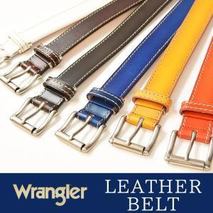 Wrangler/ラングラー ぼかしステッチ レザー ベルト WR3068  メンズ レディース 本革 カジュアル ビジネス 日本製 サイズ調整 WR-3068|geostyle