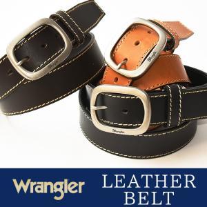Wrangler/ラングラー サイドステッチ オイルド加工 レザー ベルト WR4027  メンズ 本革 カジュアル ビジネス 日本製 サイズ調整 WR-4027|geostyle