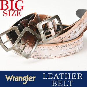 Wrangler/ラングラー アンティークバックル レーザー彫サイド金箔入り ベルト 大きいサイズ/ビックサイズ/キングサイズ WR-4045 本革 カジュアル ビジネス|geostyle