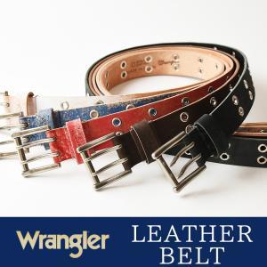 Wrangler/ラングラー ハトメ ダブルピン ユーズド加工 レザー ベルト WR4127  メンズ 本革 カジュアル ビジネス 日本製 サイズ調整 WR-4127|geostyle