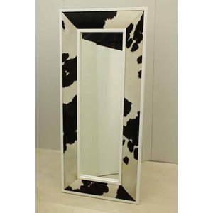 鏡 ミラースタンドミラー MRR015HR 牛皮レザー ハラコ 黒 白  アウトレット 中古 家具 インテリア|get-annex