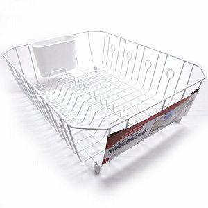 ラバーメイド 水切りかご 抗菌加工ディッシュドレーナー (Rubbermaid) L 6032 ホワイト(水切りかご おしゃれ/水が流れる 水切り)|get-square