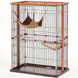 ボンビ 猫用室内ケージ ウッドワンサークルキャット 2段タイプ (猫 ケージ・ゲージ・サークル)|get-square