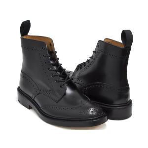 Tricker's BROGUE BOOTS STOW 5634 【トリッカーズ ブローグ ブーツ ストウ】 BLACK BOX CALF FITTING:5 (Eワイズ相当)|gettry