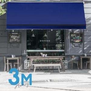 オーニングテント 幅3m×張出2m 青 ブルー 黒フレーム 折り畳み 伸縮 巻き上げ式 雨よけ サンシェード □_71119|ggbank