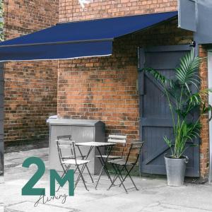 オーニングテント 幅2m×張出1.5m 青 ブルー 黒フレーム 折り畳み 伸縮 巻き上げ式 雨よけ  サンシェード □_71120|ggbank