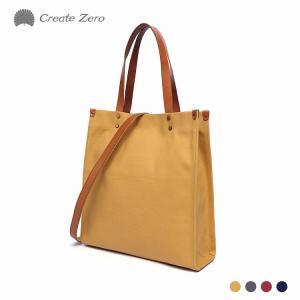 Create-zero製 トートバッグ レディース キャンバス 帆布 ヌメ革 2way A4サイズ 収納 選べる4色 @82173 ggbank