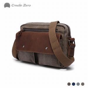 Create-zero製 ショルダーバッグ メンズ レディース ミニショルダー 帆布 本革 選べる4色 斜めがけ バッグ @82177 ggbank
