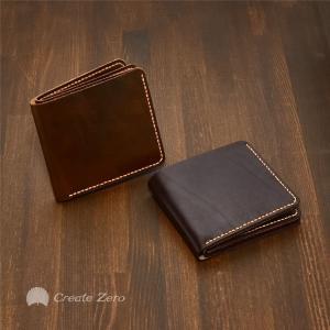 財布 メンズ 二つ折り 本革 牛本革 薄型 スムースシボ 2色 ブラウン ダークブラウン 2つ折り  @82275|ggbank
