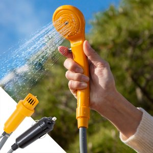 シャワー 簡易 シガーソケット 電源 アウトドア 簡易シャワー 12V  シャワーポンプ シャワーフック S字 吸盤 海水浴 キャンプ グッズ 用品_83088|ggbank