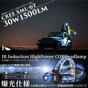LED ヘッドライト CREE製 SMD 3灯式 1500lm 赤外線スイッチ 手ぶらモード 広角照射  _86305|ggbank
