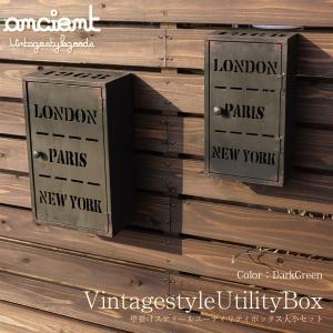 アンティーク ユーティリティボックス スティール製 大小セット 壁掛け 雑貨 インテリア 収納棚 ディスプレイ _87171|ggbank