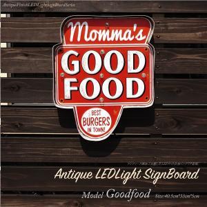 看板 LED 照明 mommas GOOD FOOD プレート アンティーク風 アメリカン雑貨 インテリア ヴィンテージ オブジェ おしゃれ  _87202|ggbank