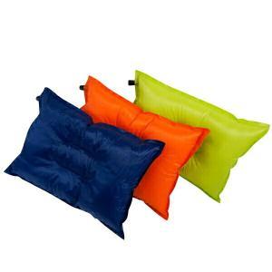 エアーピロー 枕 自然膨張式 40cm×27cm ウレタン入り 専用ポーチ付 3色 青 黄色 オレンジ キャンプ 車中泊 エアーまくら    @a552 ggbank