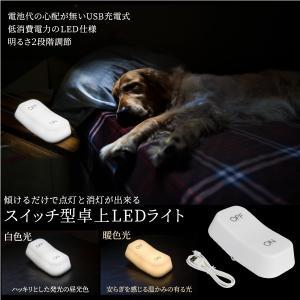 インテリア ライト 照明 スイッチ ON OFF 卓上型 LED ライト 選べる発光タイプ 白色 暖色 傾けて点灯 消灯 切り替え USB充電  @a909|ggbank