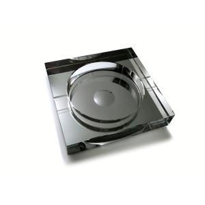 送料無料 ポイント15倍 四角形 スクウェア 卓上 高級クリスタルガラス ブラック 黒色 ガラス製 ...