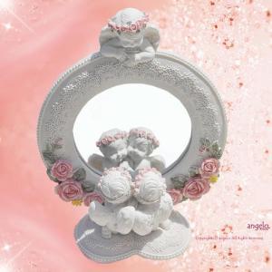 天使と薔薇オブジェ  ピンクローズ&ハートホワイトエンジェルシリーズ エンジェルドレッサー  かわい...