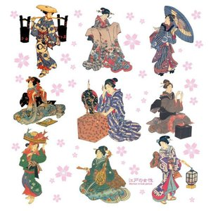 風呂敷 江戸の女性 70cmx70cm タペストリーやテーブルクロスにも使える♪ ふろしき 訪日外国人 訪日客 インバウンド お土産 手土産|gift-goods