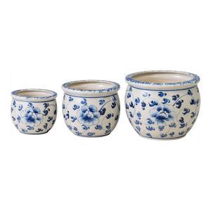 ガーデニング |植木鉢 陶器3点セット | ガーデニング 植木鉢 UH02/3KB4|gift-kingdom