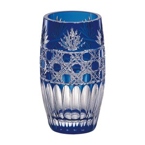 お祝い 御祝 花器 フラワーベース |カガミクリスタル 江戸切子 花瓶 笹っ葉に八角籠目 紋 F684-1972CCB|gift-kingdom