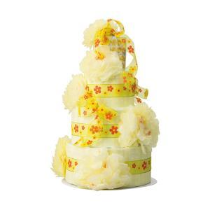 ご出産祝い おむつ |ベビーギフト おむつdeケーキビッグフラワー 三段 | 育児用品 ご出産祝い ori2309485352|gift-kingdom