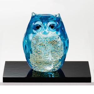 津軽 ビードロ ガラス雑貨 |津軽びいどろ 親 ライトブルー金 ( 置物 ) | ふくろう F-62989|gift-kingdom