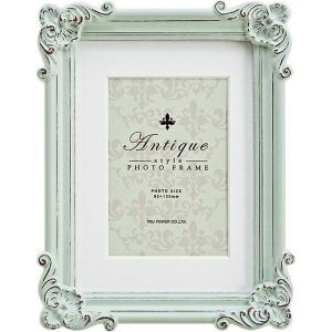 フォトフレーム 樹脂製+ガラス ご結婚祝い かわいい |アンティーク スタイル フォトフレーム 「スクエア(アンティーク グリーン)」 壁掛、卓上...|gift-kingdom