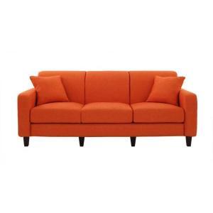 ソファー 幅190cm〔LeJOY スタンダードタイプ〕 ジューシーオレンジ 脚:角錐/ナチュラル 〔リジョイ〕:20色から選べる カバーリングソファ