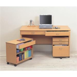システムパソコンデスク/学習机 〔ナチュラル〕 デスク板幅120cm ラック/チェスト付 〔デスク・ラック:組立/チェスト:完成品〕