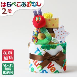 おむつケーキ オムツケーキ 出産祝い 名入れ はらぺこあおむし 2段 おしゃれ 御出産祝い おむつケーキ|gift-one