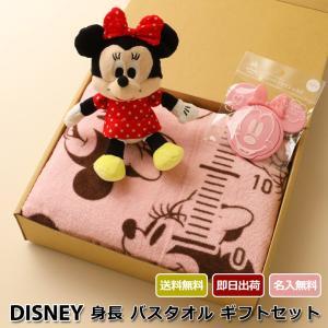 出産祝い 名前入り ディズニー 身長計付き バスタオル ぬいぐるみ おしりふきのふた disney 3点 ギフトセット ミッキー ミニー 出産お祝い 男の子 女の子|gift-one