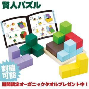エドインター 賢人パズル 出産祝い カラフルな7つのブロックで木製プレートの上に立方体を組み立てます 知育玩具|gift-one