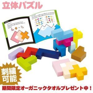 エドインター 立体パズル 出産祝い お子様の図形の認識力・思考力を育みます 木製ブロック15種類各1個(最小1辺2の立方体)、作品集|gift-one