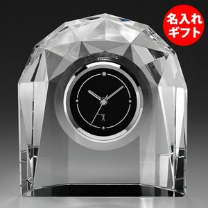 ( カガミクリスタル / ガラス ) クロック 時計 Q435 ( 名入れ メッセージ 名前入り )  クリスタル ガラス ネーム 彫刻|gift-only